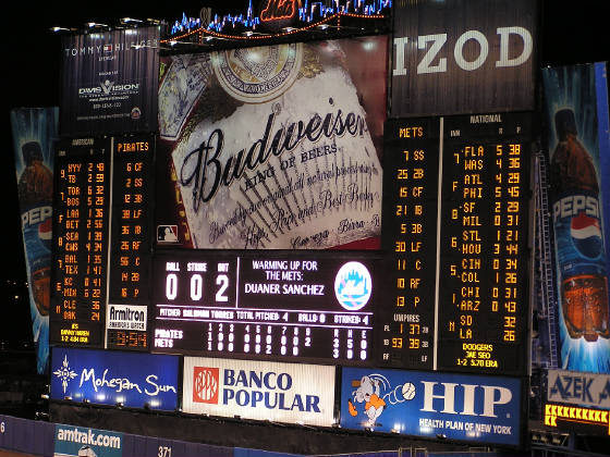 The scoreboard at Shea 2