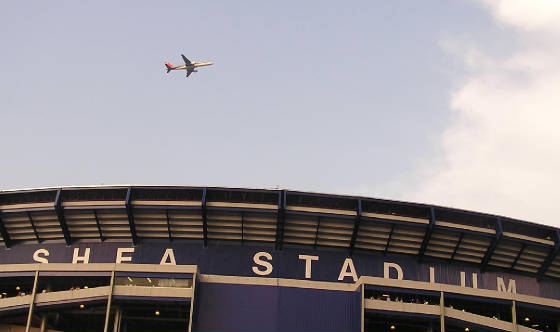 Planes fly over Shea Stadium all night long